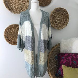 She + Sky Striped Lightweight Cardigan Sweater